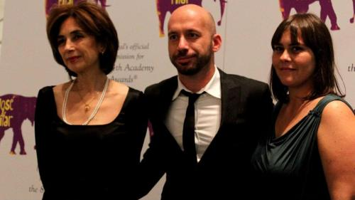 Pilar del Rio, director Miguel Gonçalves Mendes and producer Daniela Siragusa at MoMA (NY)