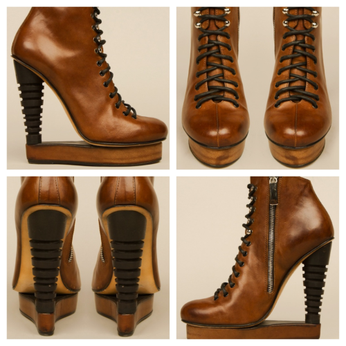billidollarbaby:  Alian Quilici Payson skate lace-up booties ($1,180)  I don't even know what to say about these— how do you walk in them? Sometimes fashion is bamboozling.