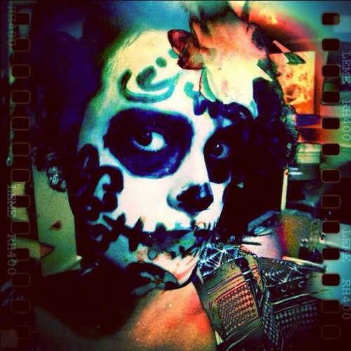 Here is another #diadelosmuertos #dayofthedead  shot I did with the #lemecam it look so rad!  #double #burning #halloween #skulls #sugarskull #scary #film  (Taken with instagram)