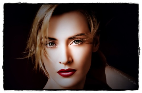 Kate Winslet does red lips.