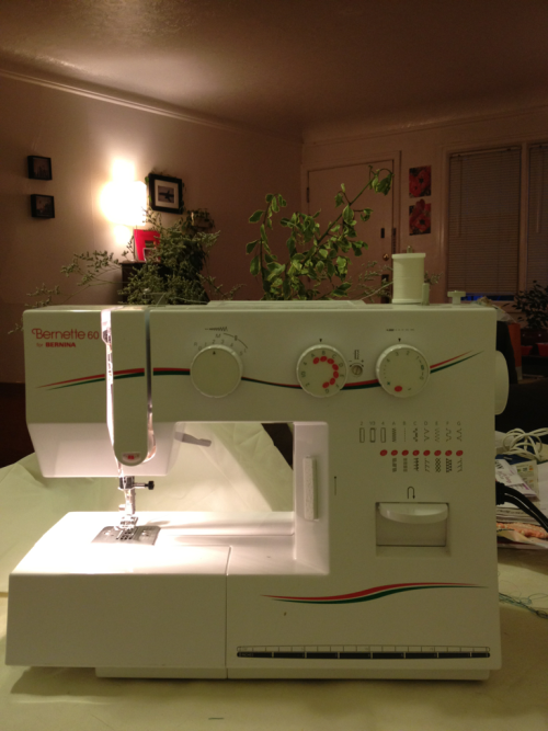 This is my old sewing machine! A Bernette 60. I purchased it my first term as a freshman at the University of Hawai'i back in 2004. I remember calling my mom, probably my first month in the dorms, and quite miserable because I wanted to sew and didn't have a machine. My parents bought it in Oregon and shipped it to me because it was still cheaper than buying the same machine in Honolulu. This machine lasted me during my 2.5 years at UH and then for 2 years at UO. It is currently set up at my sister's and about to be used to do some paper piecing. I love this machine even though it sounds like a freight train.