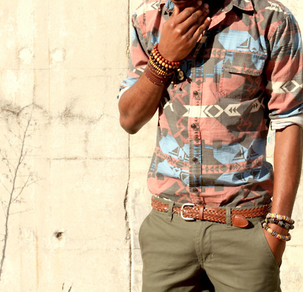 Street-style: native pattern shirt & chinos