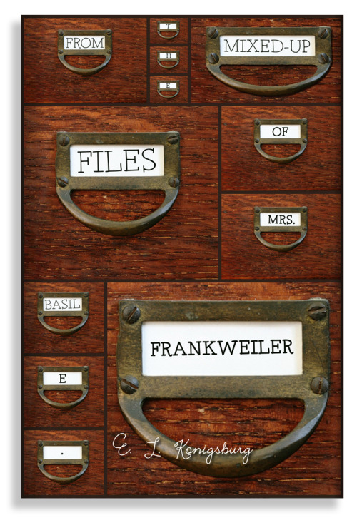 rachelfershleiser:  newcover:  From the Mixed-Up Files of Mrs. Basil E. Frankweiler by E. L. Konigsburg One of my favorite books growing up, From the Mixed-Up Files of Mrs. Basil E. Frankweiler is the reason I still want to run away and live in a museum to this day. If you haven't read this book, stop reading this and go get it. My cover portrays the funky (and mixed-up) files of Lady Basil, combining my other love of card catalogs into some sort of dream cabinet that has various drawers of various sizes.  New favorite blog!  Love the book. Love the blog concept.