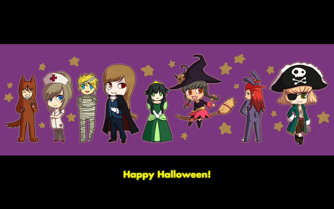 picohandx:  Happy halloween, everyone ♥ It's a little late, but here's a wallpaper-ish sort of image that silverfooted and I worked on together. You can tell which drawings I did because their heads are so fucking fat 8D  This is late, but I have not had internet up till now.  All that messing around with network connections and configurations and all I needed to was turn my laptop off and on again!!  Go figure.  Anyway, I hope everyone had a great Halloween! :D!  Can you tell which ones I did~ (hint: the ones that look less cute super-deformed)