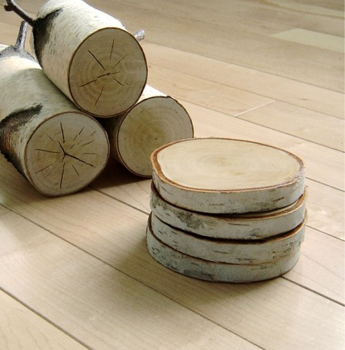 (via natural white birch wood coasters set of 4 by virtualdesignlab)