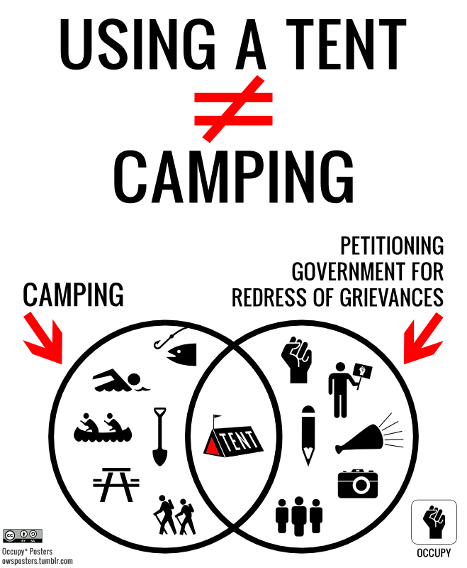 owsposters:  Using a Tent Does Not Equal Camping Download the complete poster packet This poster was featured in the U.K Guardian's coverage of the OWS events in NY on November 17 This artwork available on apparel