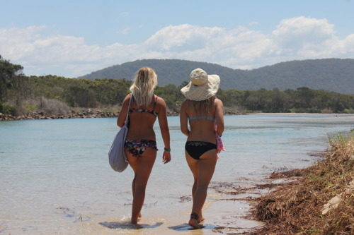 me and holly walking down the beach