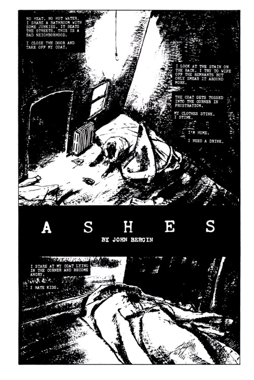 Promotional ad for Ashes by John Bergin, 1990. One of my favorite comics series and first part of my 'Ashes Wednesdays' feature for November.John Bergin is now offering a restored full color edition of IO, his 1989 collaboration with James O'Barr (The Crow) originally serialized in Caliber Presents.