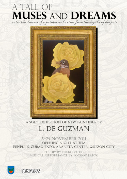 An artist friend is about to have his first solo exhibit on November 5, Saturday. I am a fan of his work.The thing is, this guy has Stevens-Johnson Syndrome. He took an antibiotic one day, took a nap, then woke up with his gums dangling out like an octopus, and his eyeballs completely black.What SJS does is it burns your from the inside-out. It's a rare reaction to antibiotics. Normally, people die from this, but he survived. From your internal organs to your skin tissue—everything was 4th degree burns. You can see the flesh and muscles. He was able to rebuild his body and was able to live a normal life for 3 years. He went back to painting, his first love, even if his eyesight was permanently damaged. But one day, his eyes stopped producing tears and he is now fighting to save what is left of his eyesight. The artist is relatively healthy and cheerful now, with new symptoms popping out here and there. (Syndrome means doctors can't explain the symptoms and where the condition is going. It's all up in the air.)The work will speak for itself. See you at the exhibit!