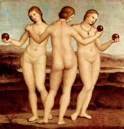 beautifuldavinci:  Three Graces (Raphael) The Three Graces in Ancient Greece The Graces, or Charities as they were also called, were personifications of charm, grace, and beauty. Most often they were the daughters of Zeus and Eurynome. Three graces, Euphrosyne, Aglaia, and Thaleia are most frequently named. Social intercourse, manners, and culture were their realm and they were obvious associates of the Muses. Early images showed them clothed, but they eventually were almost always portrayed nude.