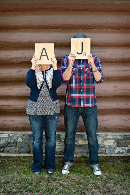 Scrabble: Cute engagement shoot idea