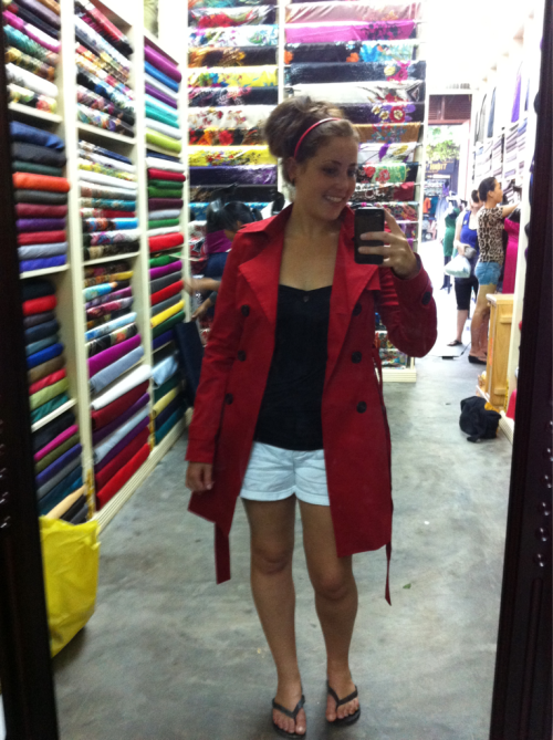 Shopping in Vietnam for custom made clothes.  Custom fit red pea-coat, for US$20? Yes and please.