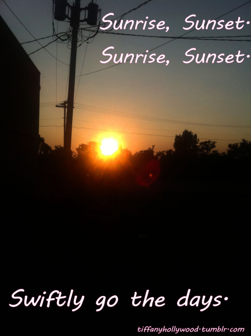 Sunrise, sunset.You wake up, then you undress.It always is the same.The sunrise and the sunsets.You are lying while you confess, keep trying to explain.The sunrise and the sunsets You realize then you forget what you've been trying to retain.But everybody knows that it is all about the thingsThat get stuck inside of your head,Like the songs your roommate singsOr a vision of her body as she stretches out on your bed.She raised her hands in the air, asked you,When was the last time you looked in the mirror?Cause you've changed.Yeah, you've changed.