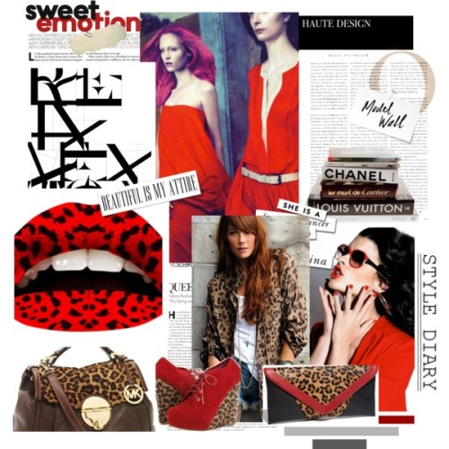 Leopard on Fire by cabichie featuring leopard bootiesBlu Moon military jacket, $259Privileged leopard booties, $35MICHAEL Michael Kors logo tote bag, $448Steven by Steve Madden clutch handbag, $85Violent Lips The Red Leopard Health & Beauty | HQHair.com, £11