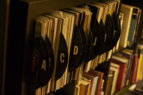 storagegeek:  Organized by phot0matt on Flickr. Record dividers for your record collection. Quite brilliant really. Some store bought stickers, some records from the charity shop that no one wants and BAM! Your LP collection is alphabetically sorted soothing the OCD beast in all of us. Visit the entire photo set to see how it was done.