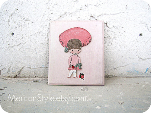 Hand Painted Girl Plaque 80s Vintage by mercanstyle http://etsy.me/svINWT