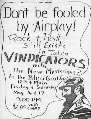 YEAR: 1980 BANDS: The Vindicators / The New Mysterians VENUE: The Bleu Grotto DATE: May 16 & 17 CITY: Tulsa, Oklahoma