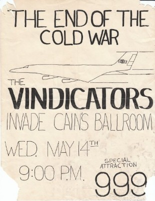 YEAR: 1980 BANDS: The Vindicators / 999  VENUE: Cain's Ballroom DATE: May 14 CITY: Tulsa, Oklahoma