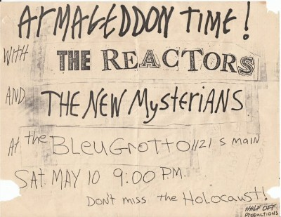 YEAR: 1980 BANDS: The Reactors / The New Mysterians VENUE: The Bleu Grotto DATE: May 10 CITY: Tulsa, Oklahoma