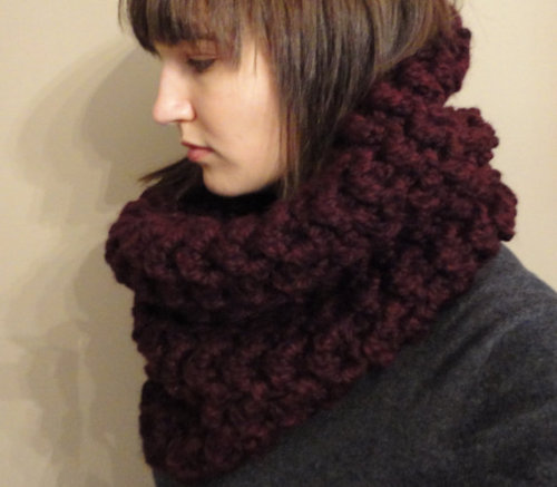 designersof:  Keeping warm with a Dark Cherry Cowl. Made to order or custom colour requests.   by Cory U of CUExperiments Twitter - Tumblr - Etsy - Facebook