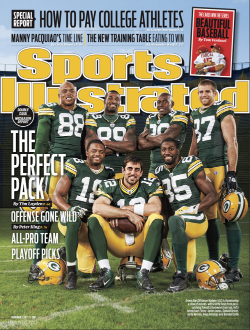 siphotos:  This week's isse of Sports Illustrated features two covers. The first is the Green Bay Packers receiving corp posing with QB Aaron Rodgers. The second is Albert Pujols and Rafael Furcal embracing after the Cardinals' World Series victory. (Packers - Robert Beck/SI; Cardinals - Al Tielemans/SI) PURCHASE THE PACKERS COVERPURCHASE THE CARDINALS COVER
