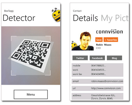 BeeTagg QR Reader for Windows Phone 7.5 (Mango) Update  If you have a WP7.5 phone, try testing out the updated BeeTagg Reader: Realtime Scanning! Better application flow New User Interface Native support for BeeTagg Contact  (vía BeeTagg)