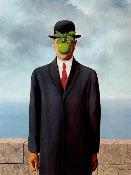 "amalgam-nation:  René Magritte ""The Son of Man"" 1964. About the painting Magritte said, ""At least it hides the face partly. Well, so you have the apparent face, the apple, hiding the visible but hidden, the face of the person. It's something that happens constantly. Everything we see hides another thing, we always want to see what is hidden by what we see. There is an interest in that which is hidden and which the visible does not show us. This interest can take the form of a quite intense feeling, a sort of conflict, one might say, between the visible that is hidden and the visible that is present.""  This right here is why René Magritte will forever be one of my favorite painters. I'm still very happy to have seen the original El castillo en los pirineos in person. It was a powerful feeling to see something like that so close after admiring the artist for so long."