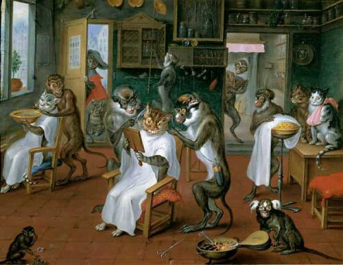 "Abraham Teniers (1629-1670) ""Barber's Shop with Monkeys and Cats"""