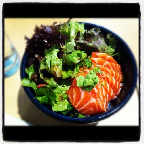 Sashimi don. A substitute for kaisen don. Oh how I miss you, kaisen don (from Ramen-Kan) <3 (Taken with instagram)