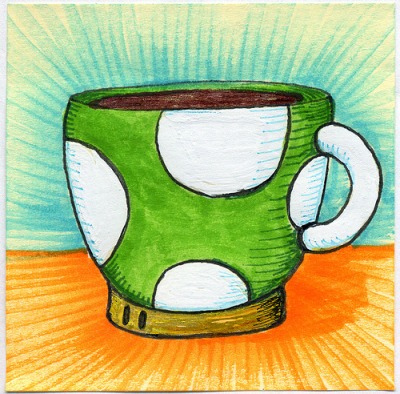 "I drew you a 1-up mushroom mug of coffee I always feel like I got a 1-up once I get my morning coffee. I hope you like it. This is part of my ""The Daily Coffee"" marker drawing series."