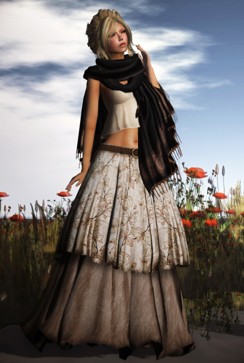 #21  Skin: LAQ ~ Lovisa [Fair] 01 by Mallory Cowen Eyes: Amacci ~ Emerald Eyes - 4 by Carina Larsen Lashes: *REDGRAVE* Eyelashes -31- ExtraLong by Viola Leigh Hair: .b - ladonna - shea by Queue Marlowe Top: {mon tissu} Cropped Tank Top - Taupe by Anouk Spot Shawl: ZC : pashmina shawl *almost black* by Zaara Kohime Necklace:[bellballs] Trendy Tribal Necklace- Persian Leopard by Viollette Vyper Skirt: *League* Nomad Maxi Skirt -Floral/Cream by Nena Janus Hands: SLink De Jolie Mains Hands Relaxed Set 1 by Siddean Munro Feet: Maitreya Gold * Bare Feet Tip-Toe by Onyx Leshelle Pose: Olive Juice- Coquette 1 by IsabellaGrace Baroque Location: Miu Island