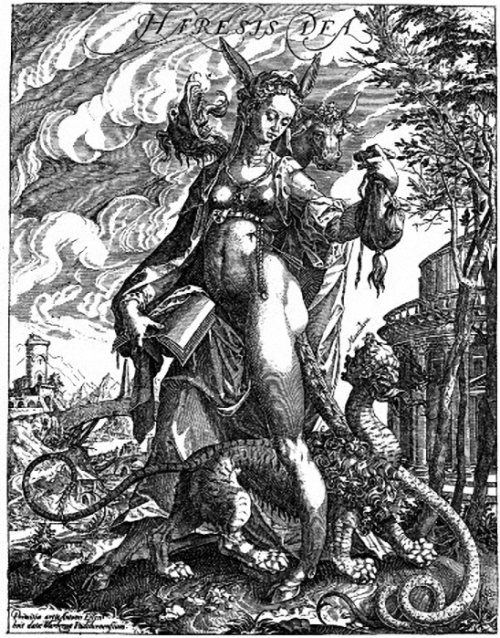 f-featherbrain:  Haresis Dea (Female personification of heresy with the mythical monster mantichora.) Printmaker Anton Eisenhut (1554-1603), publisher Balthaser Caymox (1590-1635). Info