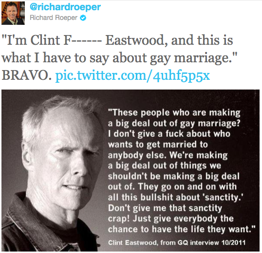 "usefullylazy:  Now THAT'S how you support Gay marriage. If Betty White and Clint Eastwood say yes to gay marriage and you don't, you can get the fuck out of here. I love that his face is all like ""support gay marriage….punk."" i feel like if the manliest man to ever man in America is okay with it…all the dudebros need to get on the train or get off his lawn.  I'm digging through my likes, I see this then I think of RNC Clint who's yelling at a chair about a year later :/"