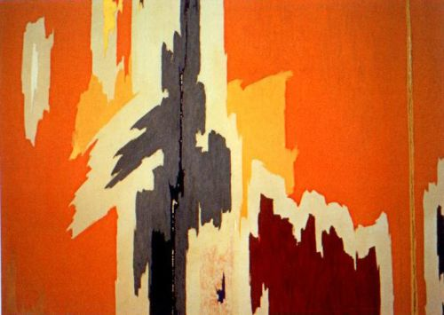 This piece of Abstract Expressionism by Clyfford Still (PH-972, 1959) somehow conveys nature to me. The colors are warm and the shapes almost resemble a navajo print. How do you feel about it?