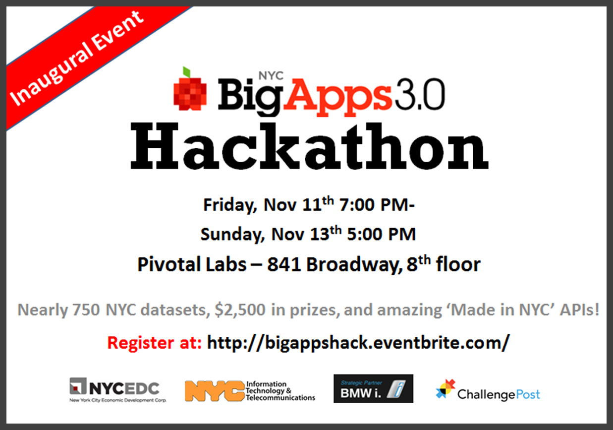 nycedc:  Thinking of entering NYC BigApps 3.0? We'd love to see you at the first NYC BigApps hackathon the weekend of November 11th. Sign up before it fills up!