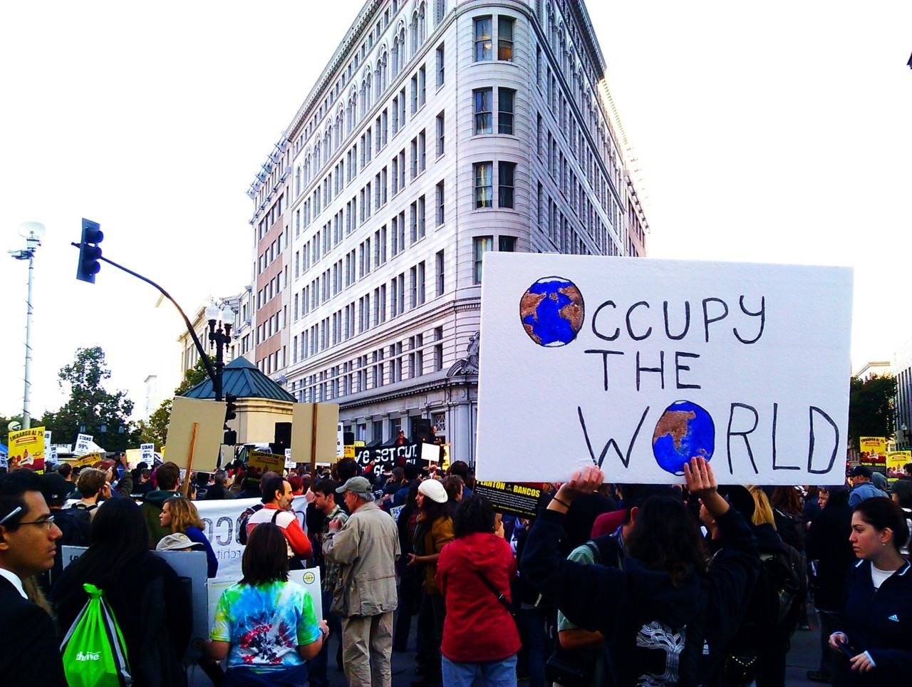 My colleagues and I have been covering the Occupy Oakland general strike since the vote last week. I took this photo this morning around 930am when around 800 or so protesters were arriving. Now the crowds have swelled to around 5K. Check out the Turnstyle News' archive and coverage. I'm managing the intake.  Also follow the twitter account for minute-to-minute updates. I'm tweetin' like crazy!