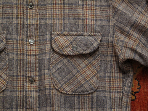 mens vintage Pendleton wool plaid button up in the shop.