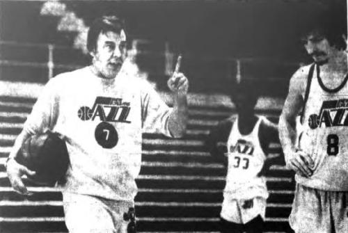 NOV 18, 1974 / NEW ORLEANS JAZZ PRACTICE. Rare pic of Maravich and new head Butch van Breda Kolff at VBK's first practice after taking over for Scotty Robertson. No sign of the matchbox he wrote his practice plans on.