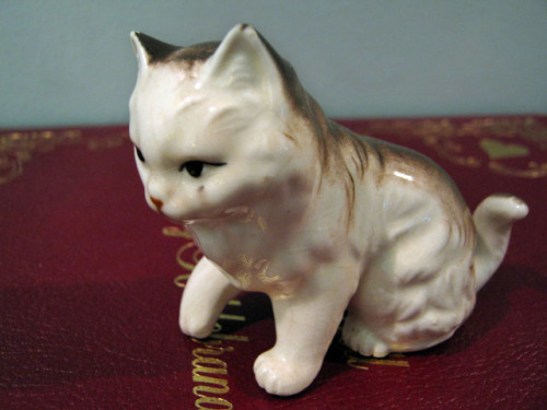 Okay, it's not just ceramic tchotchkes in general that I have a weakness for, I have a particular attraction to ceramic cats. Yes, yes, go ahead and mock me! The majority of ceramic cats in the world are quite ugly and tacky, but for every five laughably hideous ones, there's one that's just perfect. I consider myself lucky to have found this one. Look at how the paint is crackled under the glazing, this one's pretty old! But that's apparent just in the way her face is painted. This little kitty now lives on my bookshelf next to some teeny ceramic bunnies.  $0.50