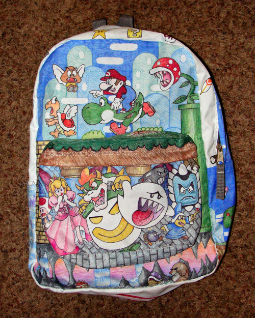 potofawesome:  Mario Sharpie-Art Backpack By: mattmcanis Via: DeviantArt