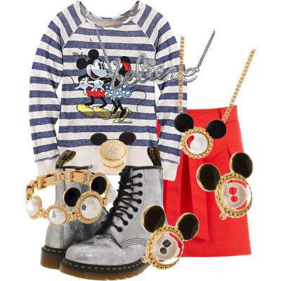 Disney! by newfieluvr13 featuring faux pearl jewelryDisney top, $40Oasis a line mini skirt, $17Dr. Martens jeweled boots, $120Disney Couture circle jewelry, $117Disney Couture enamel jewelry, $117Disney Couture wide ring, $75Disney Couture faux pearl jewelry, £35Disney Couture diamante jewelry, £27