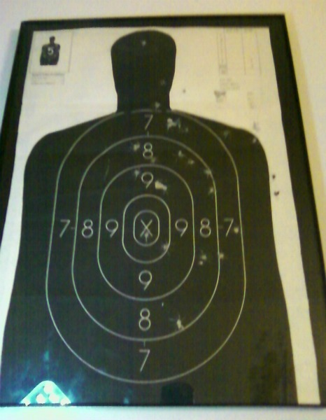 Roomie's latest anti-burglar device: her shooting range target sheet. (NOTE THE HEAD SHOT, BITCHES.) We also have a motion sensor light in the kitchen (where our door is) and an alarm system.
