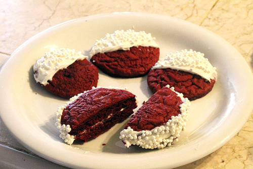 Made some Red Velvet Cookies with my girl, in both regular and sandwich form.
