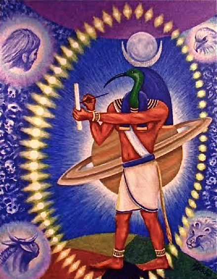 multi-dimensional on the reg - - - Thoth surrounded by the same four faces we find in the book of Ezekeil and the book of Revelations. …