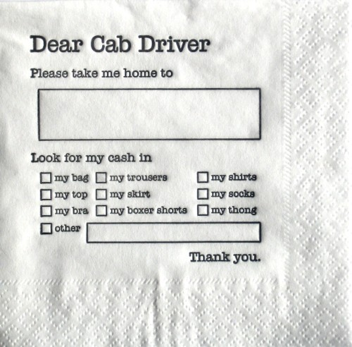They should have these beverage napkins at all bars located in cities!