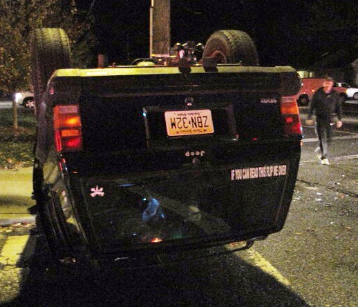 Overturned Jeep's Bumper Sticker: 'If You Can Read This, Flip Me Over' Very appropriate. Via brick.patch.com