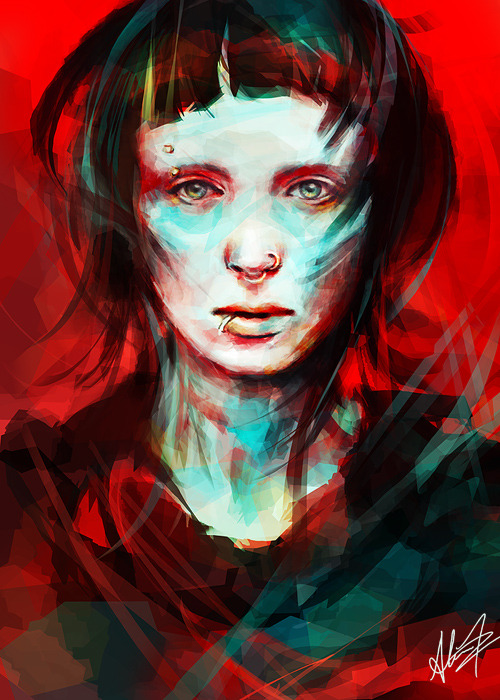 Portrait of Lisbeth Salander from The Girl with the Dragon Tattoo, really looking forward to Fincher's remake.