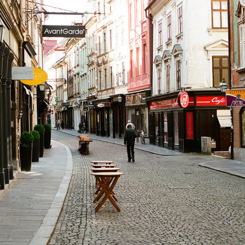| ♕ |  Early morning alley in Ljubljana  | by © Peter Gutierrez | via ysvoice