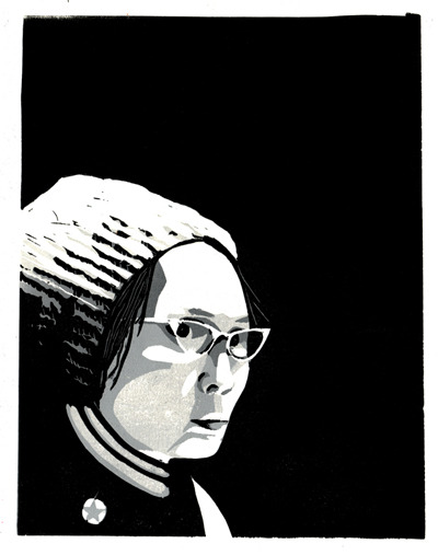 Yuri Kochiyama by Alec Icky Dunn Justseeds is putting together a book (with Microcosm Pub.) which will be portraits of radical Americans. This is a reduction print/portrait I made of Yuri Kochiyama for that project. She is an inspiring long-time activist, a former internee in WWII Japanese-American Internment camps, and closely tied in with political prisoner support and black liberation struggles from the 60s to the now.
