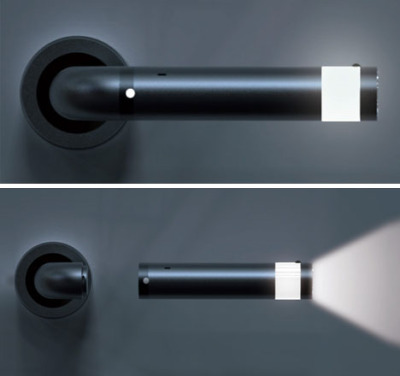 s0u1v0mit:  LED Door Knob/Flashlight the handle when not in use doubles as a mood light and or night light. the knob when turned to open the door, charges the flashlight and has a power button on the flashlight to turn on and off when not in use off the door.